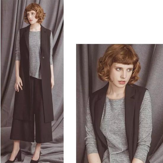 新思路(XINSILU)品牌女装 流苏元素和经典的岩石灰色赋予小衫时尚的气息
