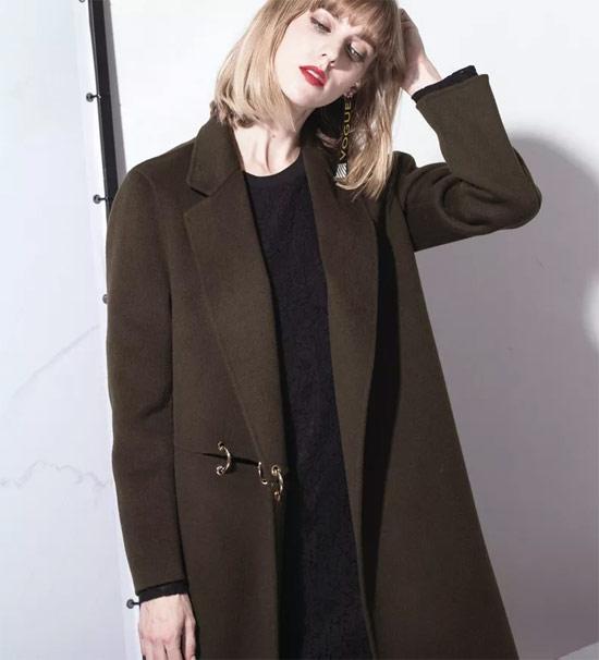衣讯(EXUN)女装品牌 双面呢大衣舒适软萌包容度+收腰