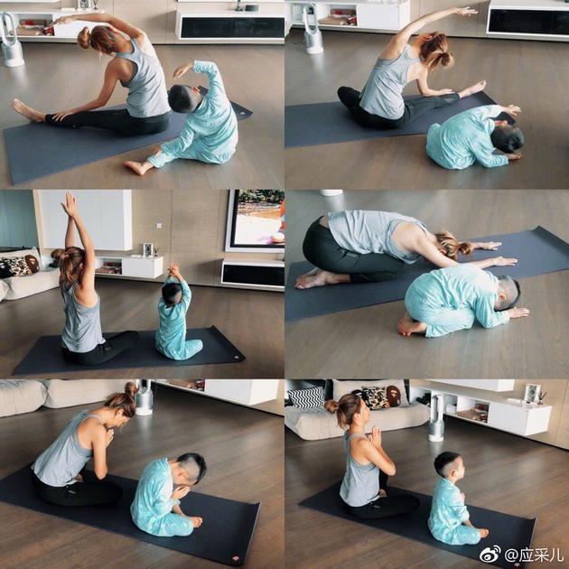 应采儿带儿子做瑜伽 Jasper有样学样十分认真