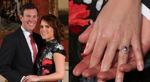 英国尤金妮公主订婚 手带Padparadscha粉色蓝宝石戒指