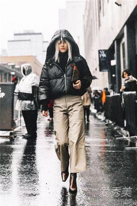 阔腿裤+羽绒服也能穿出时髦感 风度与温度共存!