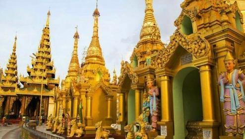 3000克拉钻石做塔顶的缅甸仰光大金塔