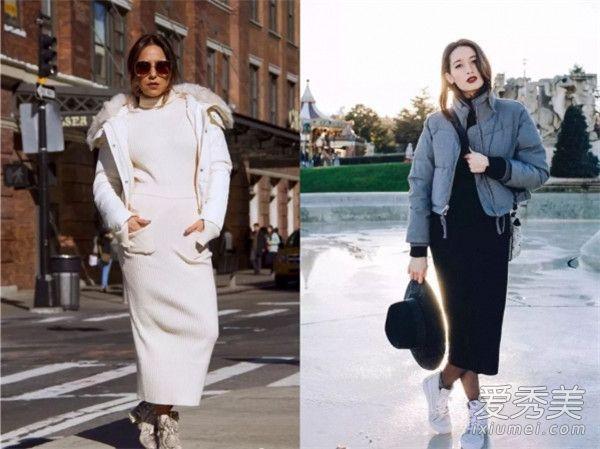 羽绒服穿衣搭配方法 羽绒服+针织裙既保暖又时髦