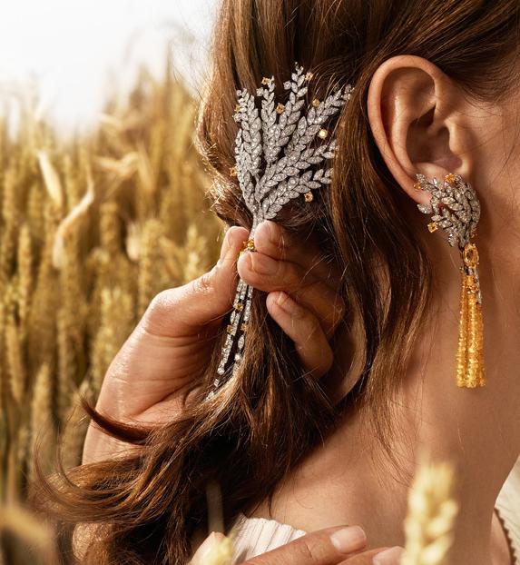 麦穗元素珠宝 钻石点缀宛如月色映照下洒满星辉的麦田