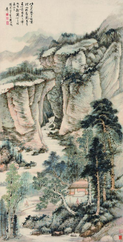 张大千《秋山林屋》图代表其盛年风华