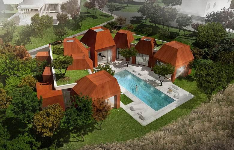 矿产状豪宅:酷似当地火山岩上的水晶簇