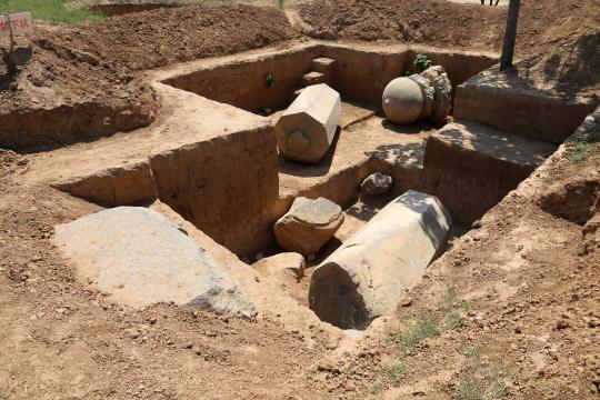 唐元陵新出土鸵鸟等石刻27件 并发现两座大型建筑基址