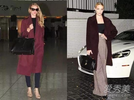 深酒红色衣服搭配技巧示范 酒红X外套优雅的气质超显女神感