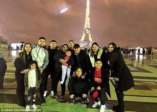 桑切斯与家人用私人飞机飞往法国度假 在埃菲尔铁塔前摆姿势拍照