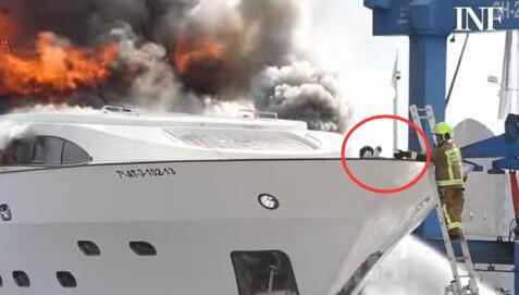 西班牙一艘豪华游艇发生大火 淡定猫走红