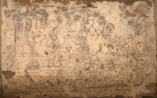 陕西关中西部发现唐代砖室墓 墓室内壁画大多保存完整