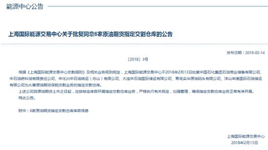 上海国际能源交易中心同意6家原油期货指定交割仓库