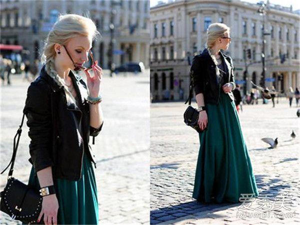 半身长裙配什么上衣 半身长裙配皮夹克街头休闲度百分百