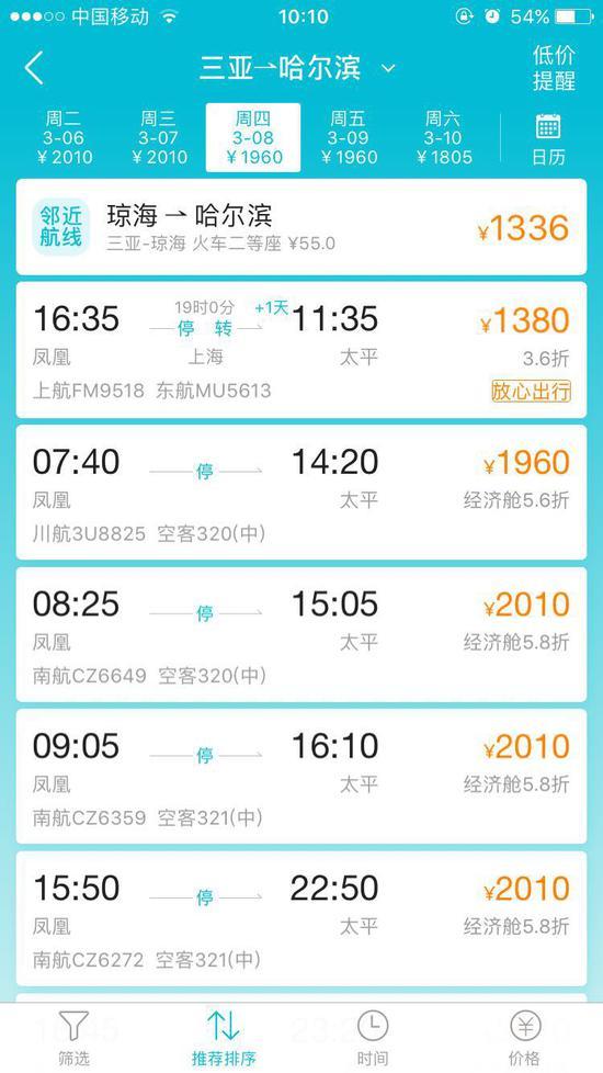 三亚返京机票暴涨 到哈尔滨机票就要近2万元!