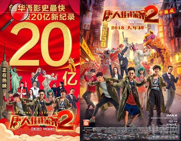 《唐人街探案2》成贺岁档票房冠军 7天破20亿