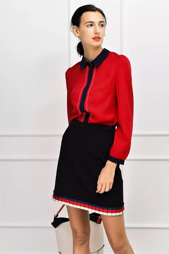 sophie&stephie穿开运红衬衫上班 提气醒脑的红色衬衣就是许多时装精们的不二之选