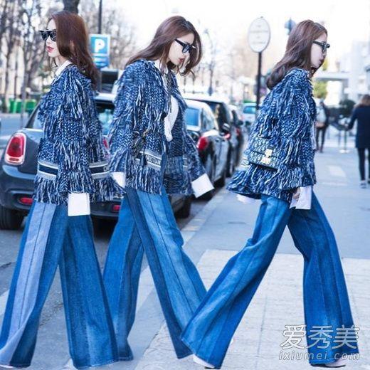 angelababy巴黎时装周街拍 流苏外套+牛仔裤渲染浓浓的早春气息