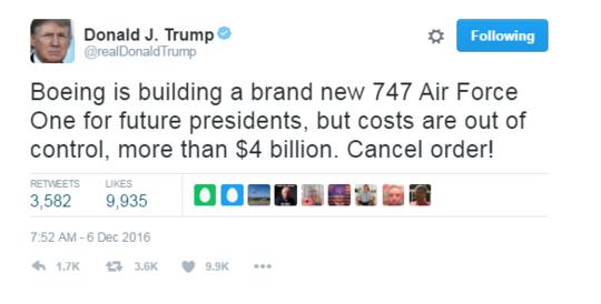 多亏特朗普砍价 新空军一号降价14亿