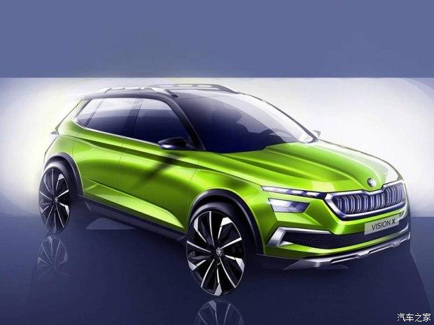斯柯达VISION X概念车预告图 该车定位于小型SUV车型