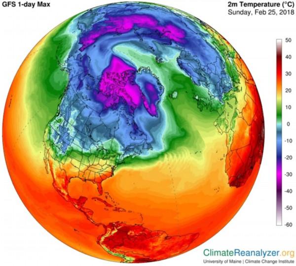 """北极出现史上最高温 气象学家认为这是一个""""疯狂的冬天"""""""