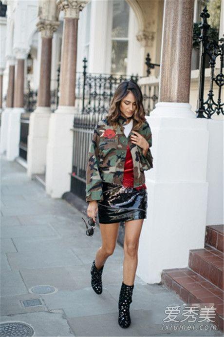 半身短裙配什么上衣 皮短裙+牛仔外套帅气又不缺乏时髦感