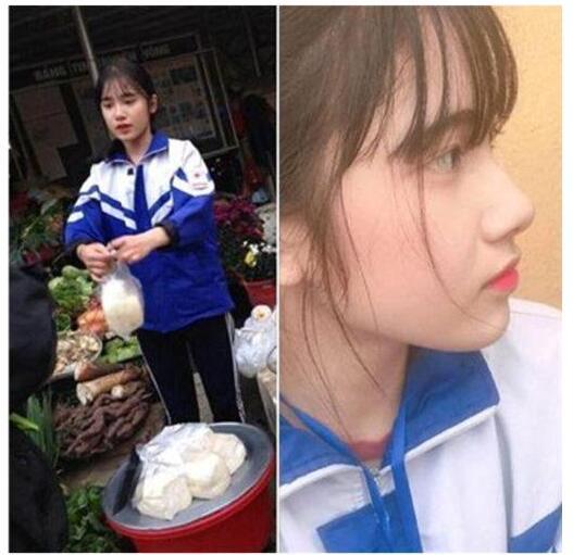 越南女生帮妈卖豆腐成网红 照片风靡东南亚
