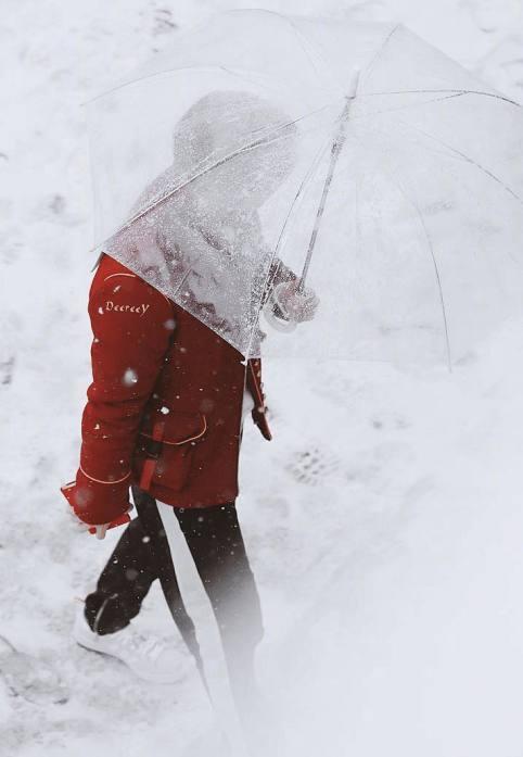 跑男第6季正在紧张拍摄当中 鹿晗穿红衣在雪地撑伞