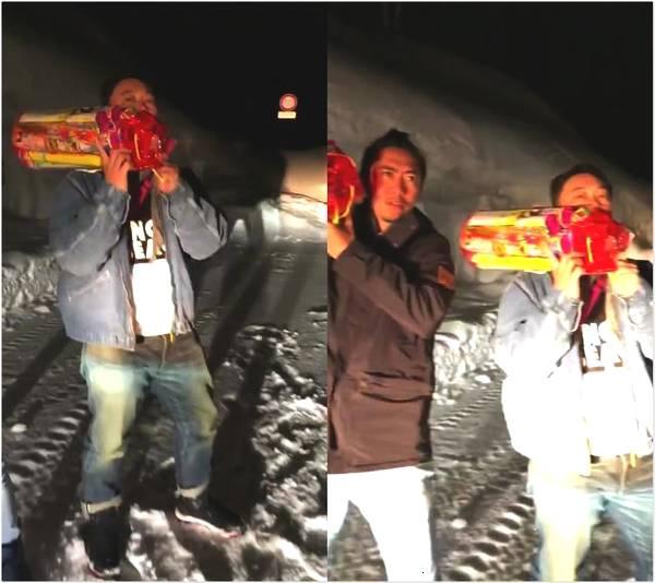 陈奕迅雪中为妻放烟火 徐濠萦网络大秀恩爱