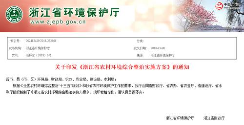 关于印发《浙江省农村环境综合整治实施方案》的通知
