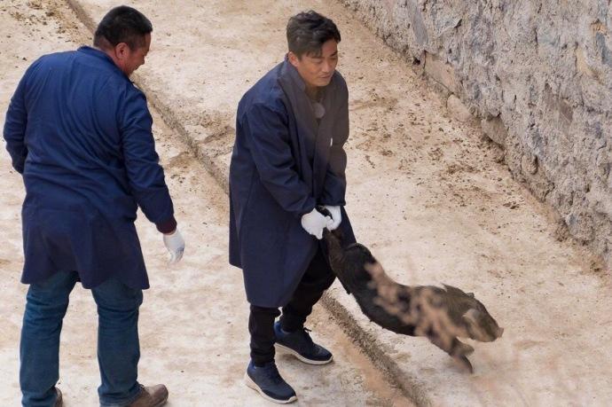 王宝强抓猪当主厨 与地产大亨潘石屹下乡扶贫