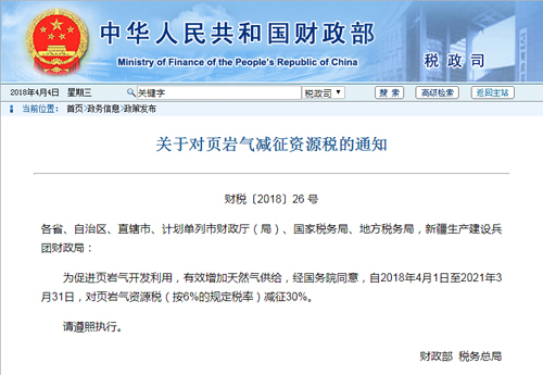 财政部、税务总局对页岩气资源税减征30%
