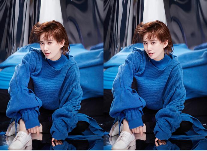 刘诗诗刘雯蔡依林 撞衫同款蓝色针织衫