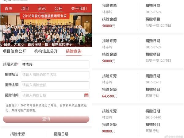 林志玲捐款记录曝光 其中一笔高达1000万人民币