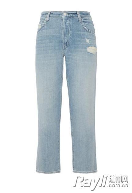 J Brand Ivy 仿旧高腰直筒九分牛仔裤
