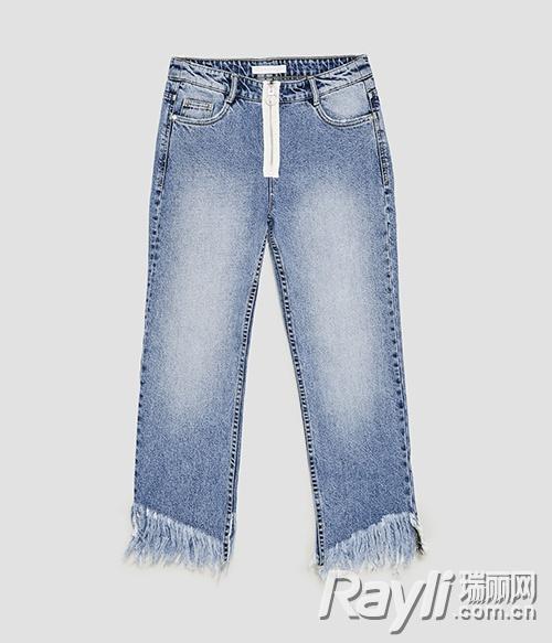Zara直筒牛仔裤