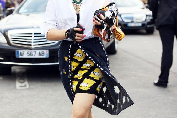 街拍中的辛普森短裙