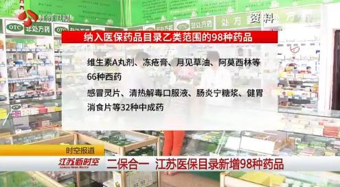 江苏省今年医保目录新增98种药品