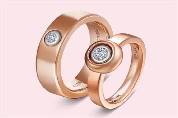 I Do 360° LOVE系列18K金钻石红宝石对戒_珠宝图片