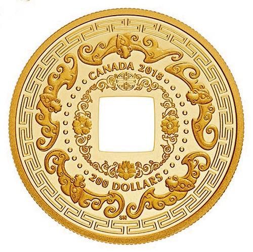 """加拿大皇家铸币厂推出以""""五福添寿""""为主题的约28克纯金币"""