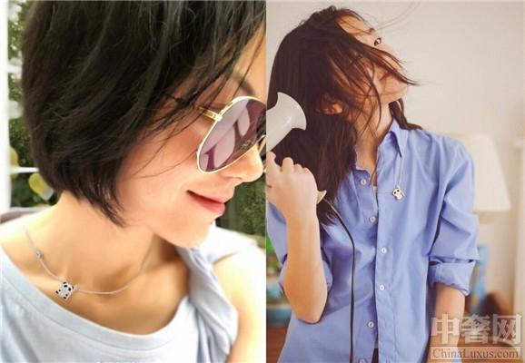 王菲佩戴女儿李嫣设计的熊猫项链