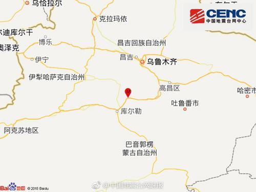 新疆和硕县3.0级地震 震源深度8千米