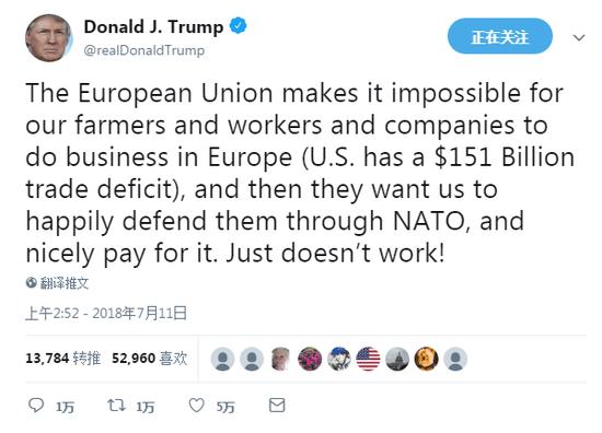唱哪出?特朗普炮轰北约和欧盟