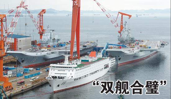 两大航母双舰合璧 辽宁舰与首艘国产航母首次同框亮相