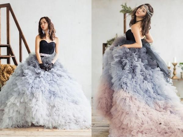 彩色婚纱再升级 摩登混色系梦幻婚纱
