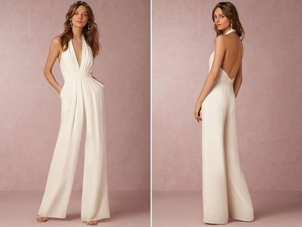 个性女孩的时尚婚礼连身裤