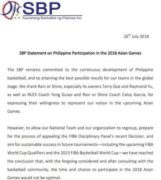 """出于""""多钟因素""""考虑 菲律宾男篮退出亚运会"""