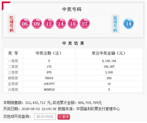 双色球089期:头奖5注912万 奖池8.64亿