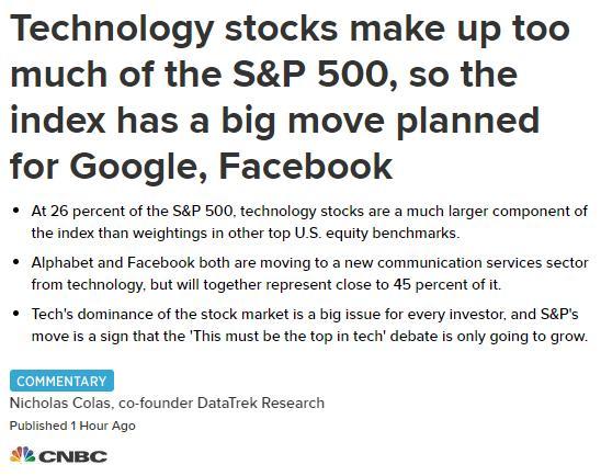 标普500开启重大变革 谷歌和脸谱网被转移到新板块