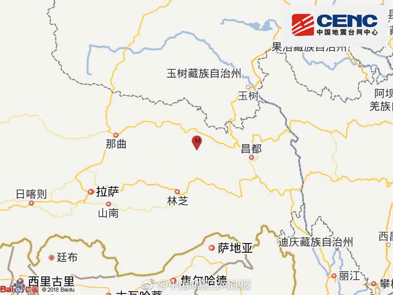 西藏昌都市边坝县发生3.2级地震