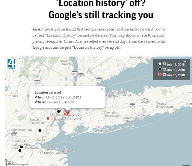 谷歌追踪用户位置 即使加强隐私设置也不管用